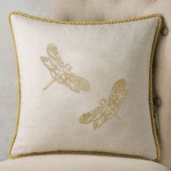 Dragonfly Embroidery 18x18 Cushion Cover