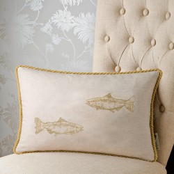 Salmon Embroidery 12x20 Cushion Cover