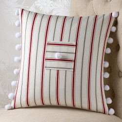 Porto Stripe Red 18x18 Cushion Cover